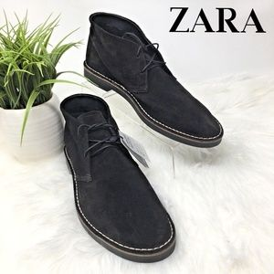Zara Men's Black Suede Leather Chukka Boots